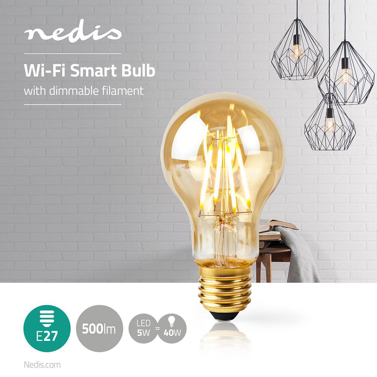 Slimme filament Wifi lamp E27 - 2200K - 5 watt - sfeerfoto