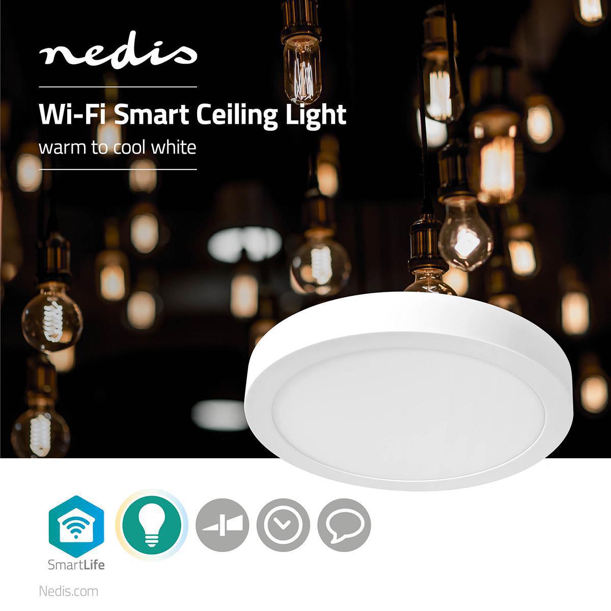 WiFi - Smart LED plafondlamp - 18 watt - 30cm - warm tot koel wit - 18 watt - dimbaar - app besturing - sfeerfoto