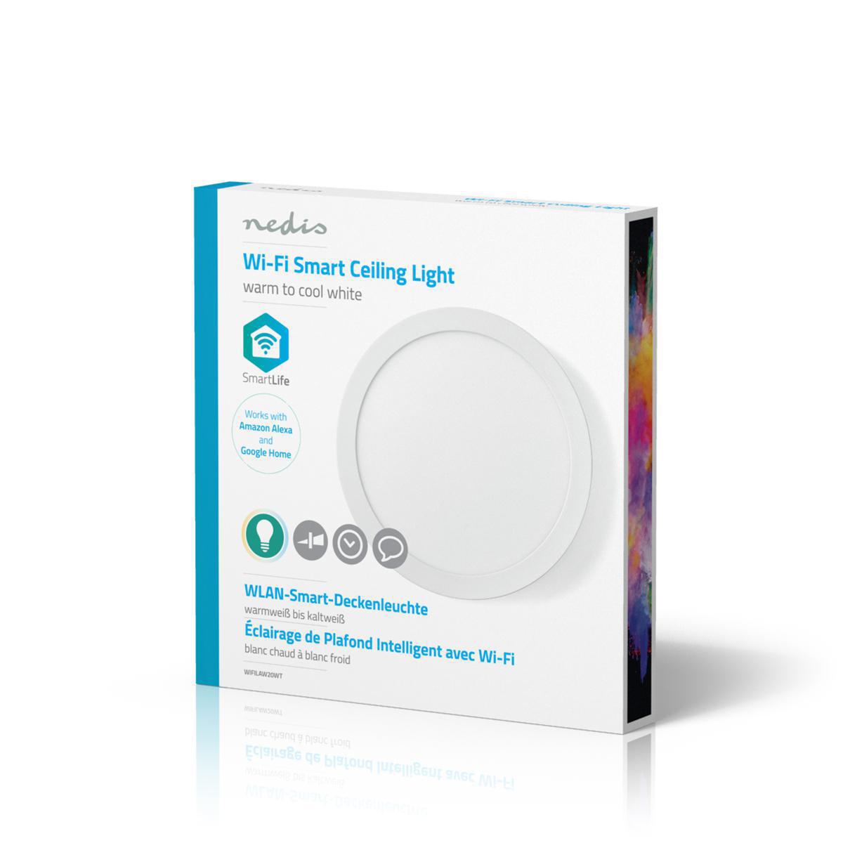 WiFi - Smart LED plafondlamp - 18 watt - 30cm - warm tot koel wit - 18 watt - dimbaar - app besturing - doos