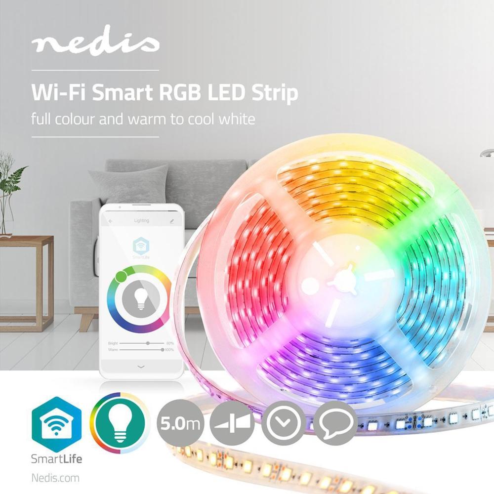 WiFi Slimme LED Strip RGB + CCT - - APP besturing - dimbaar - 5 meter - kleuren instelbaar