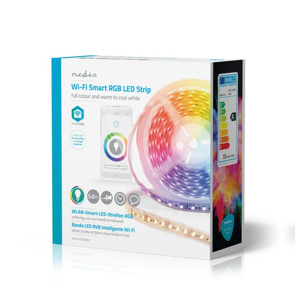 WiFi Slimme LED Strip RGB + CCT - - APP besturing - dimbaar - 5 meter - zijkant verpakking