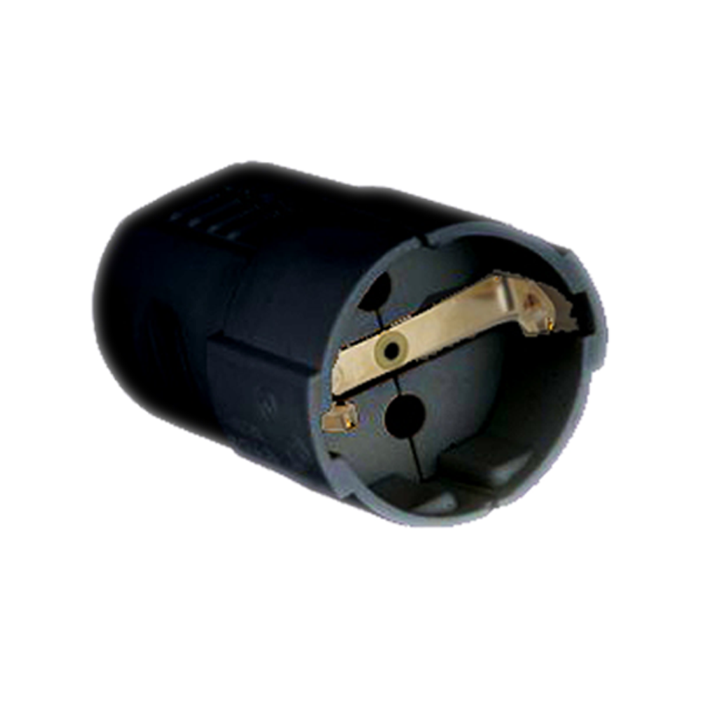 Zwarte contrastekker zwart IP22 - vooraanzicht stekker
