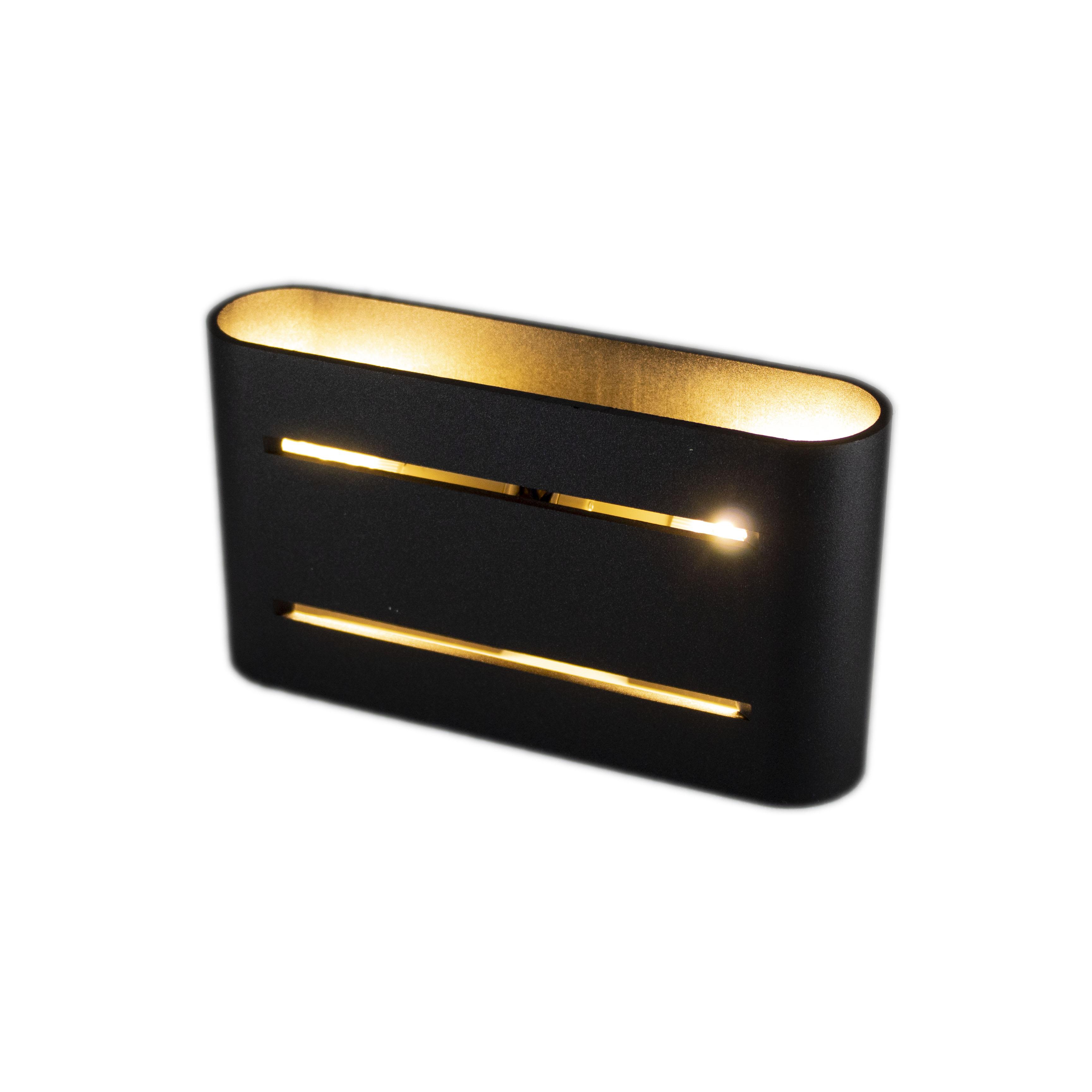 Led wandlamp zwart goud 2 keer G9 fitting - ip20 - lamp aan