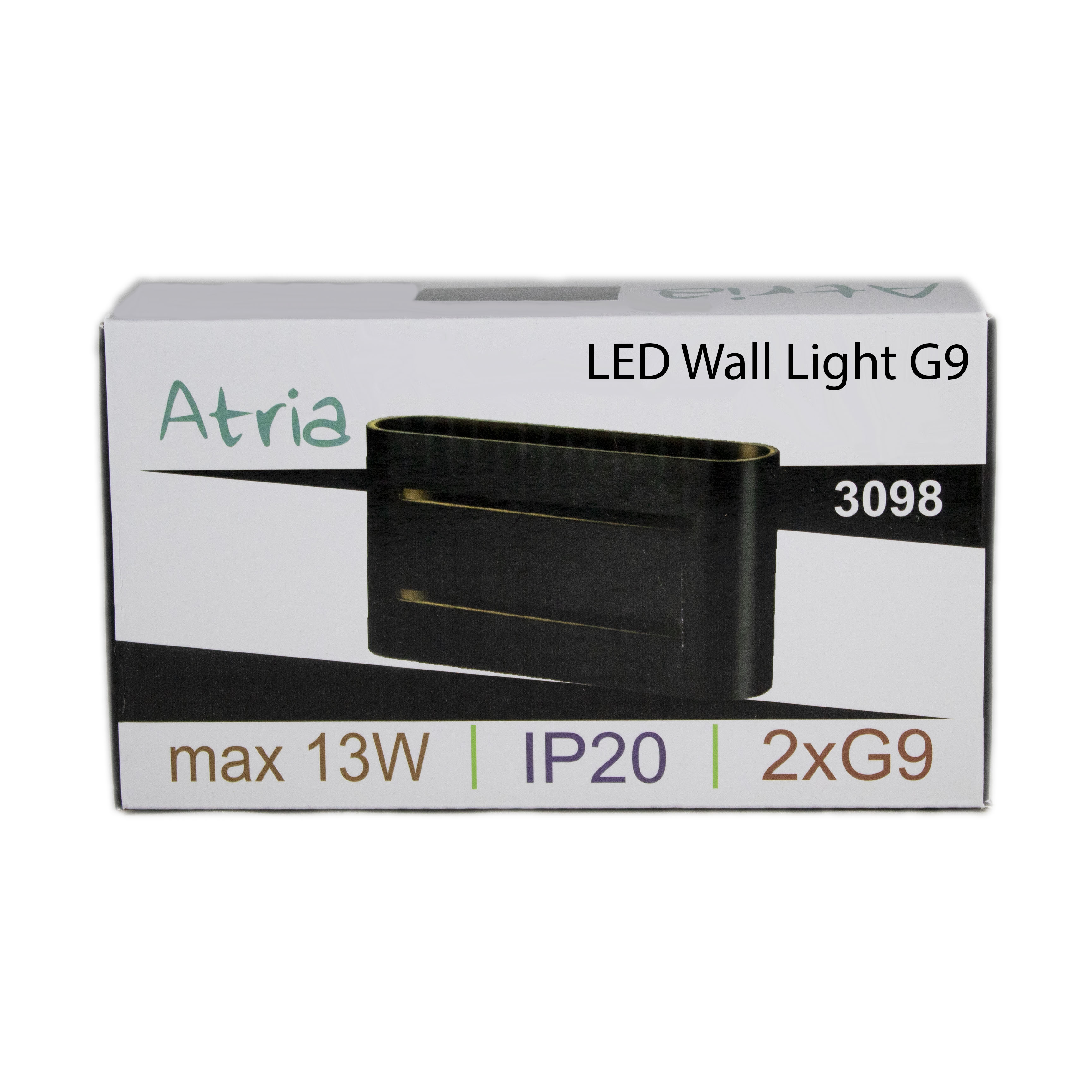 Led wandlamp zwart goud 2 keer G9 fitting - ip20 - verpakking
