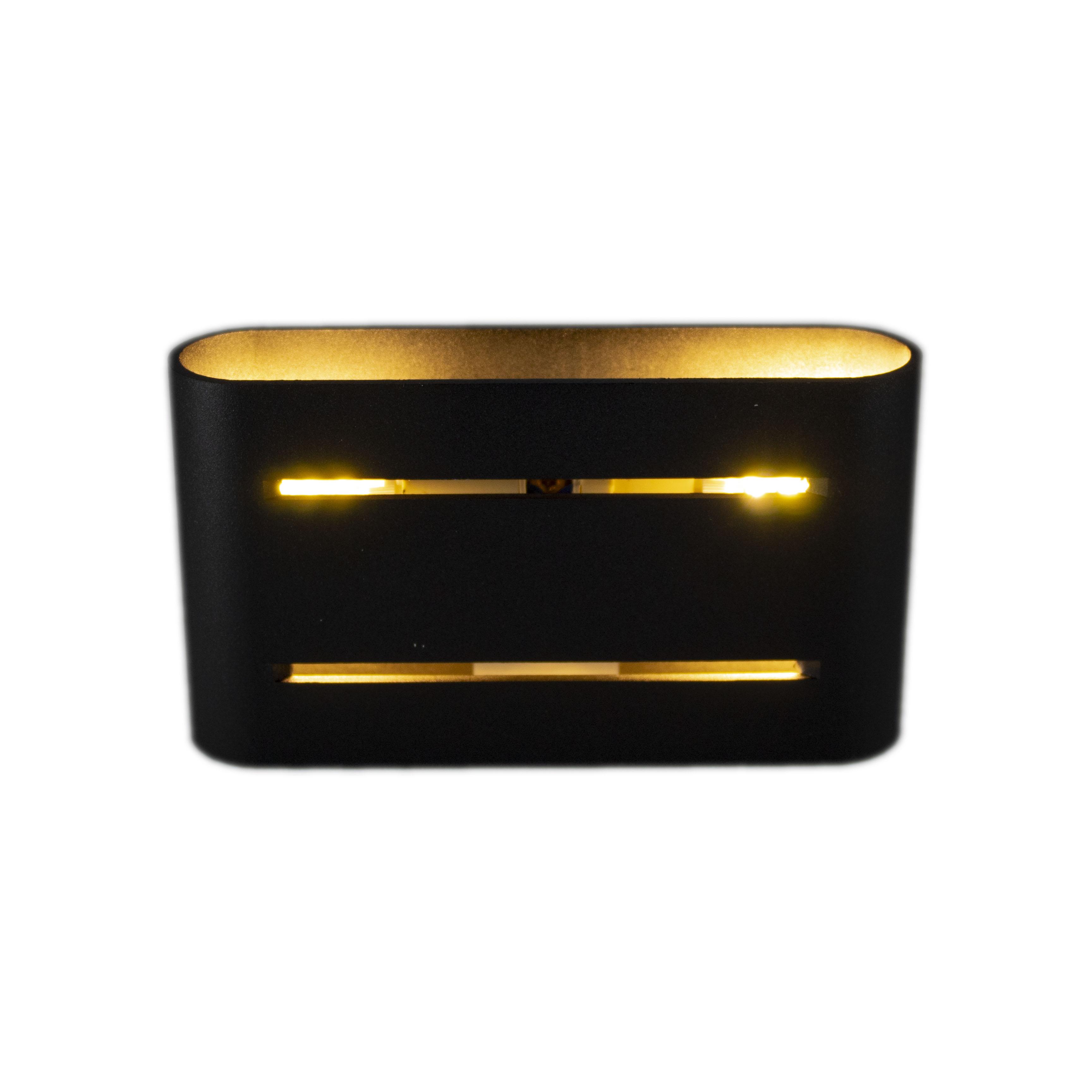Led wandlamp zwart goud 2 keer G9 fitting - ip20 - vooraanzicht lamp aan