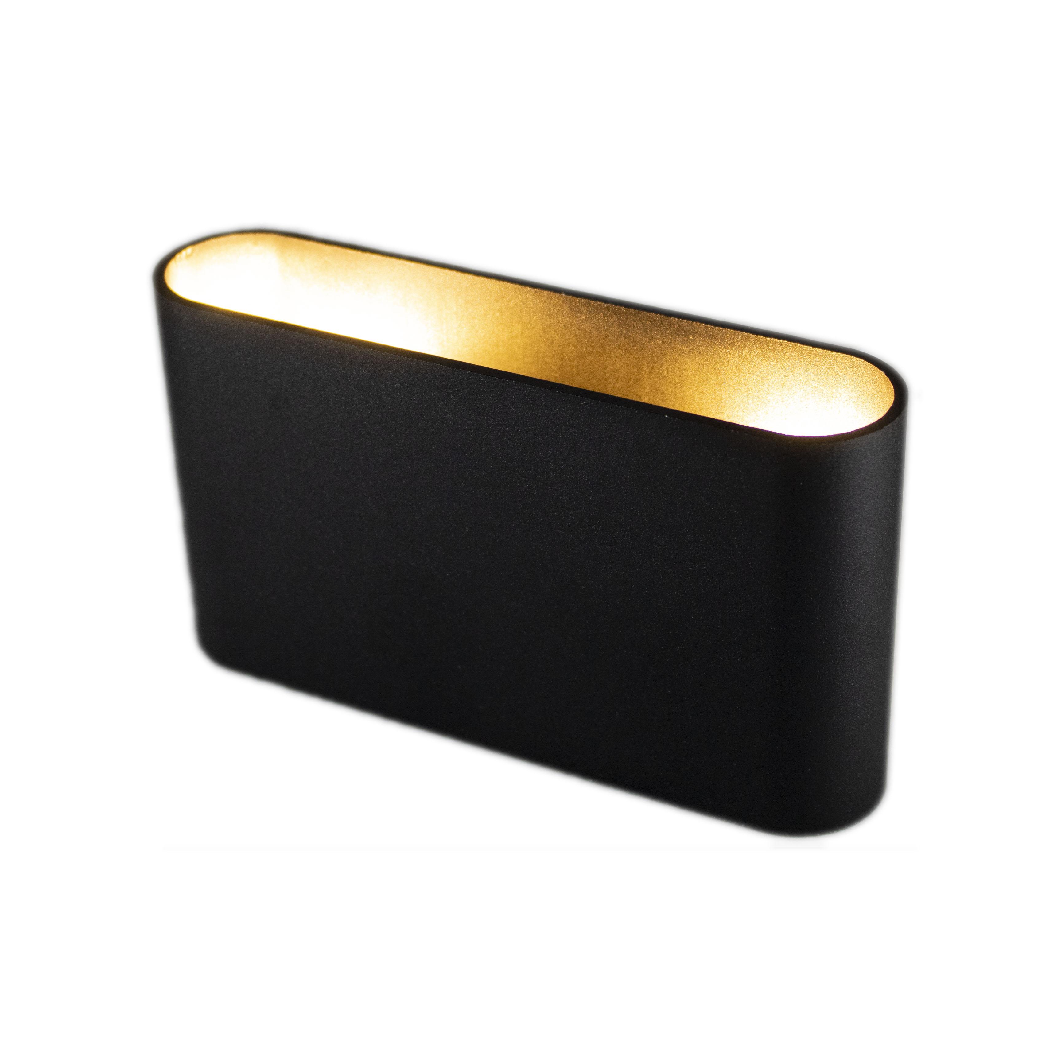 Zwarte wandlamp Led goud 2 keer G9 fitting - lamp aan