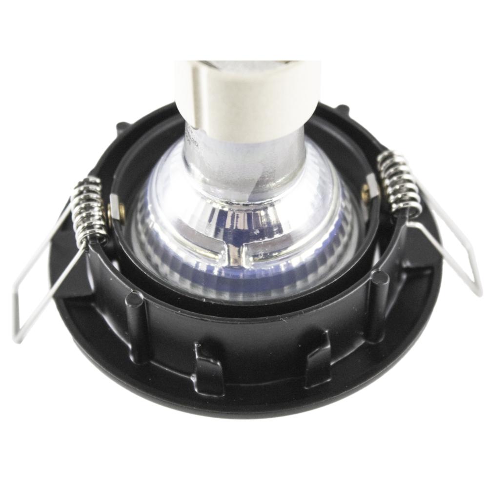 Inbouw spot zwart LED - rond - incl. GU10 fitting en GU10 spot - kantelbaar - 70mm - achterkant