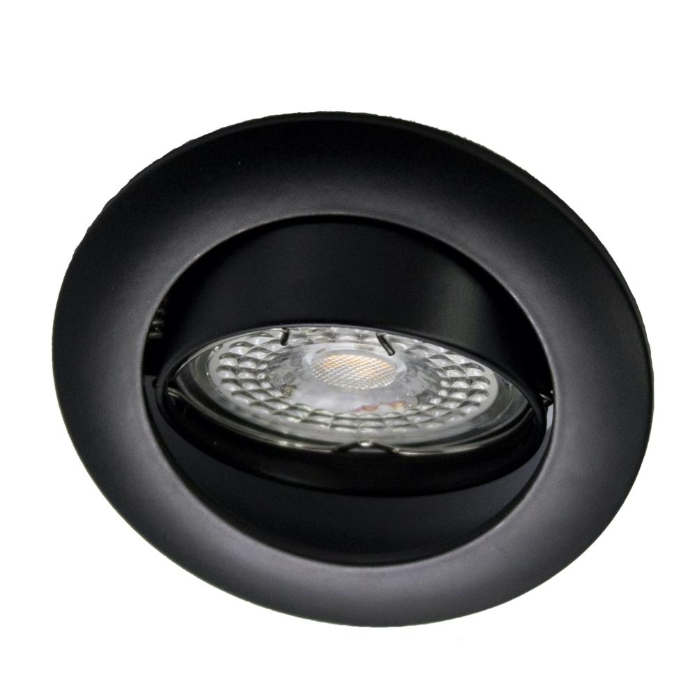 Inbouwspot zwart - rond - kantelbaar - warm wit - dimbaar - 5,5 watt - met klemveer