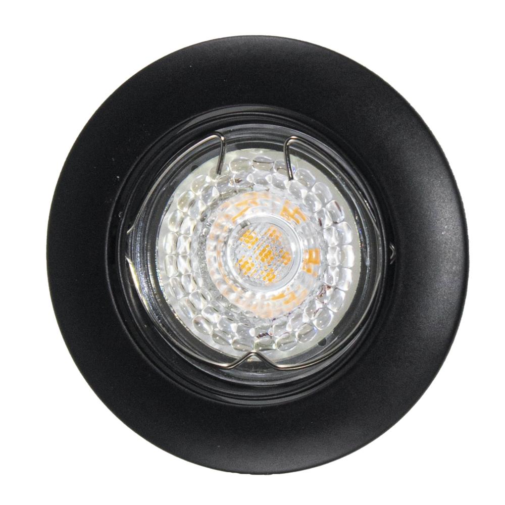 Ronde zwarte inbouwspot - 73mm - 75mm - kantelbaar - dimbaar - onderaanzicht