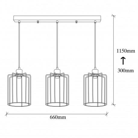 zwarte metalen hanglamp industrieel - 3x E27 fittingen afmetingen