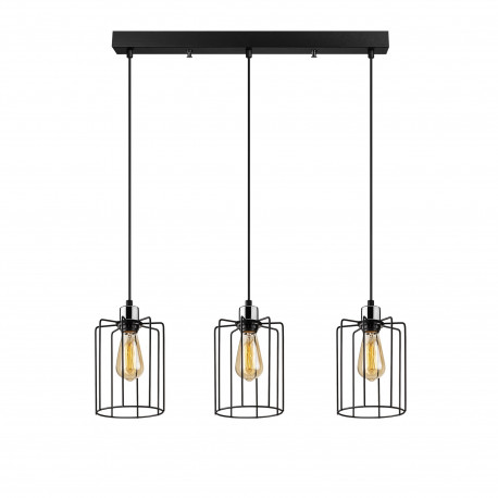 zwarte metalen hanglamp industrieel - 3x E27 fittingen
