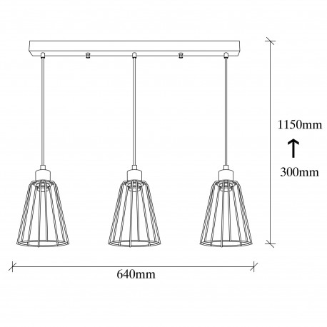 Zwart metalen hanglamp 3 dubbel E27 fitting afmetingen