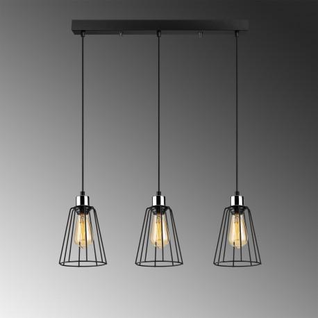 Zwart metalen hanglamp 3 dubbel E27 fitting