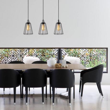 Zwart metalen hanglamp 3 dubbel E27 fitting sfeerfoto