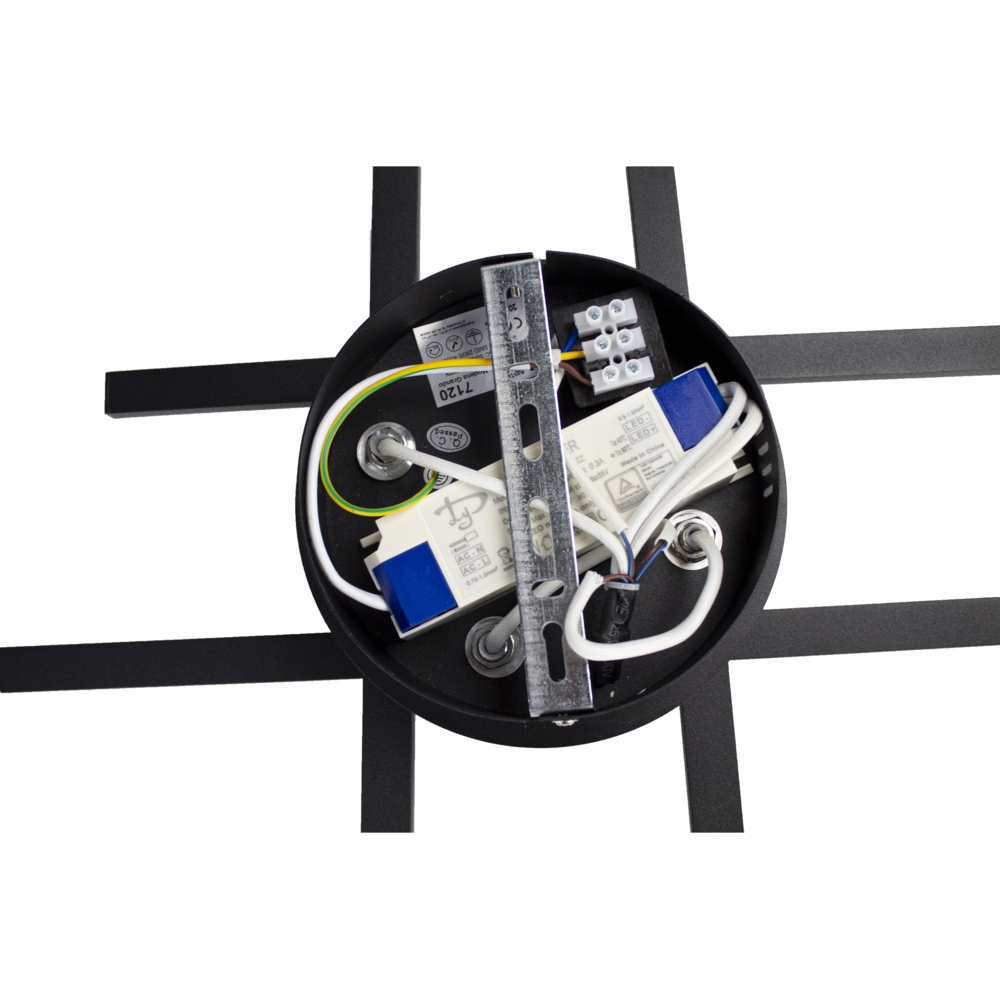 Zwarte plafondlamp modern - 4 staven - draaibaar - 4000K naturel wit - 34 watt - binnenkant (2)
