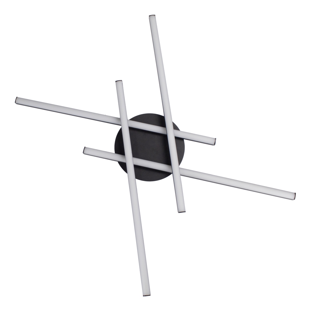 Zwarte plafondlamp modern - 4 staven - draaibaar - 4000K naturel wit - 34 watt - onderkant
