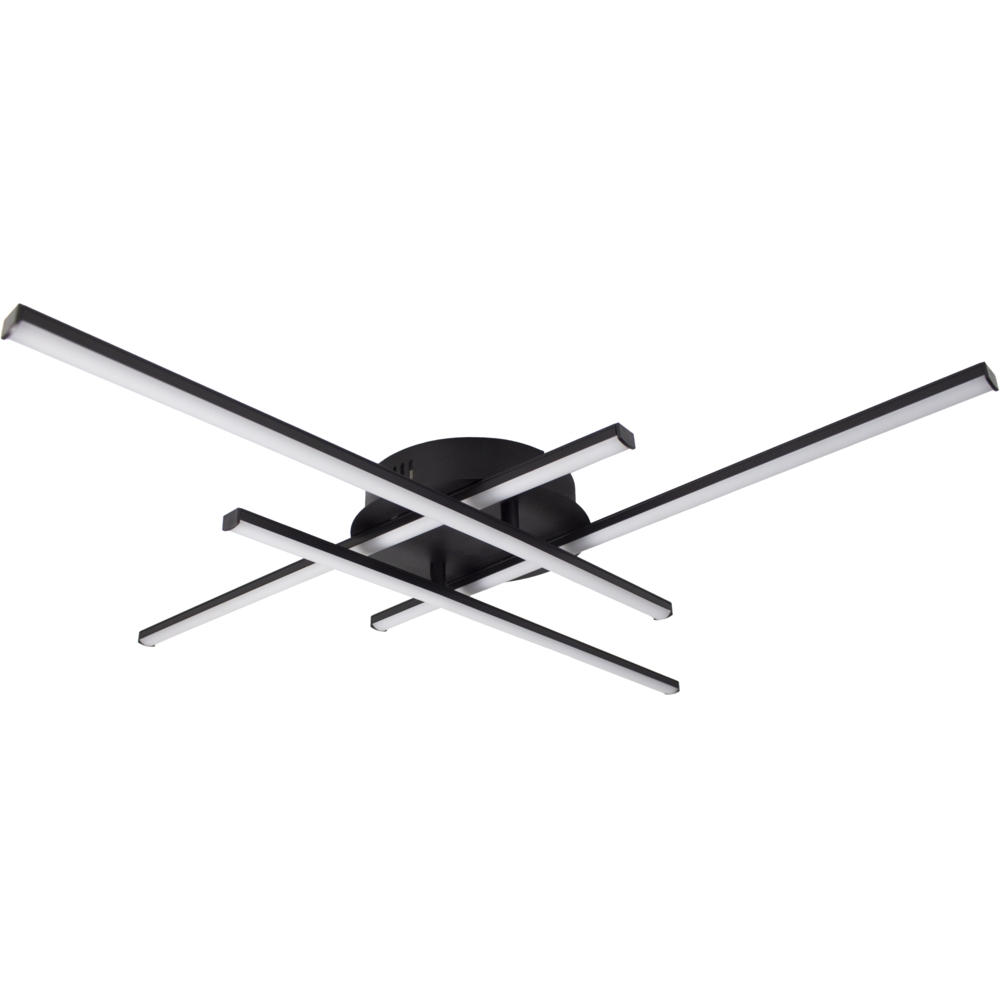 Zwarte plafondlamp modern - 4 staven - draaibaar - 4000K naturel wit - 34 watt - vooraanzicht