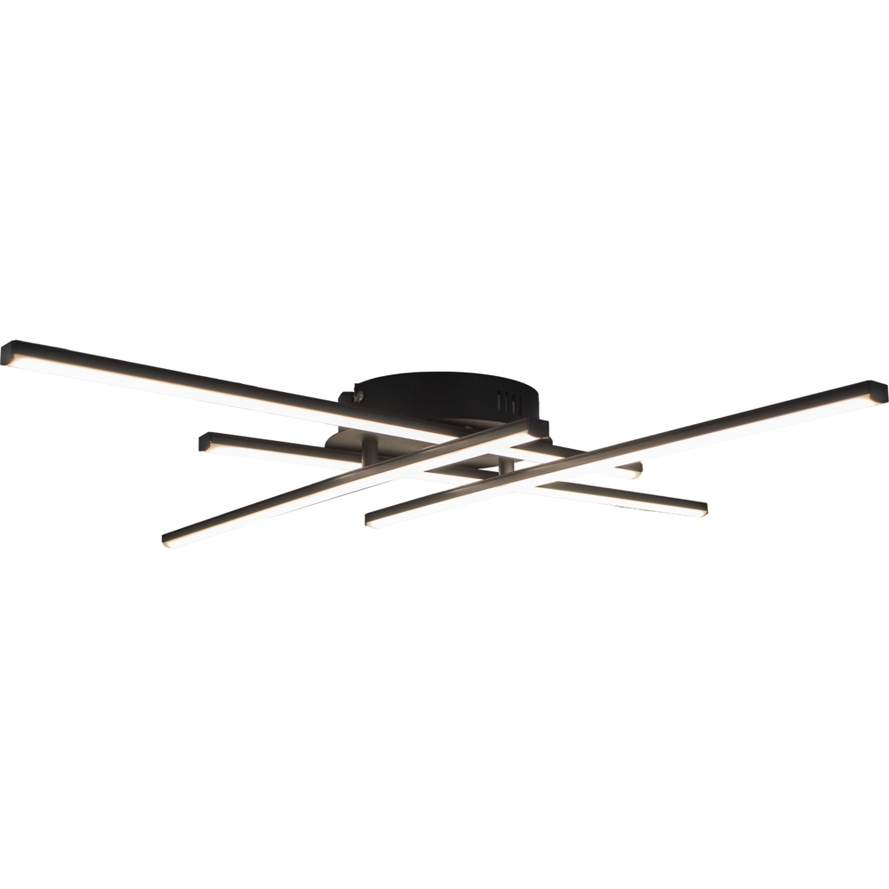 Zwarte plafondlamp modern - 4 staven - draaibaar - 4000K naturel wit - 34 watt - vooraanzicht lamp aan