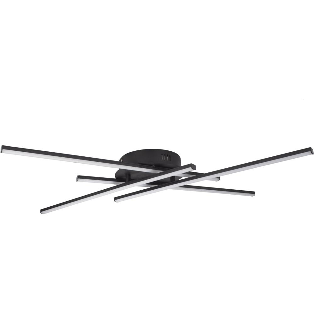 Zwarte plafondlamp modern - 4 staven - draaibaar - 4000K naturel wit - 34 watt - zijkant