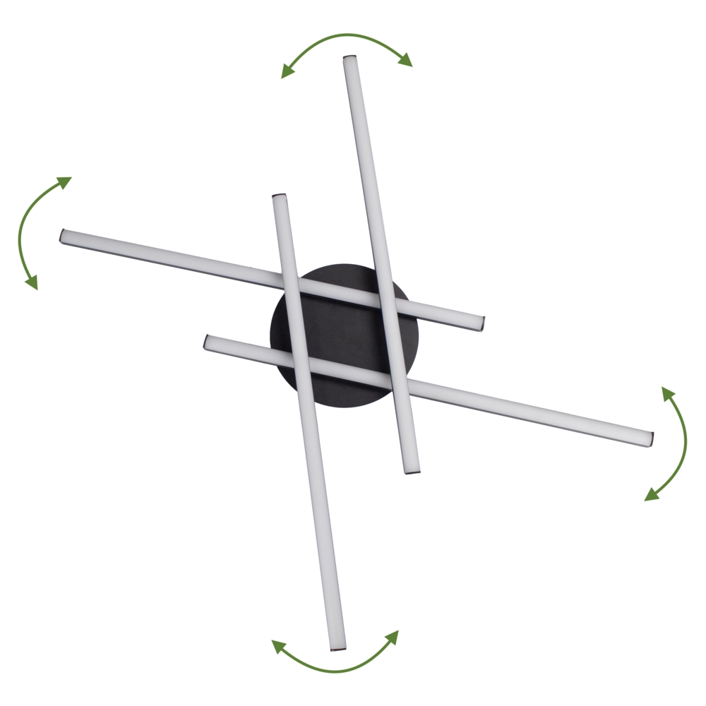 Zwarte plafondlamp modern - 4 staven - draaibaar - 4000K naturel wit - 34 watt