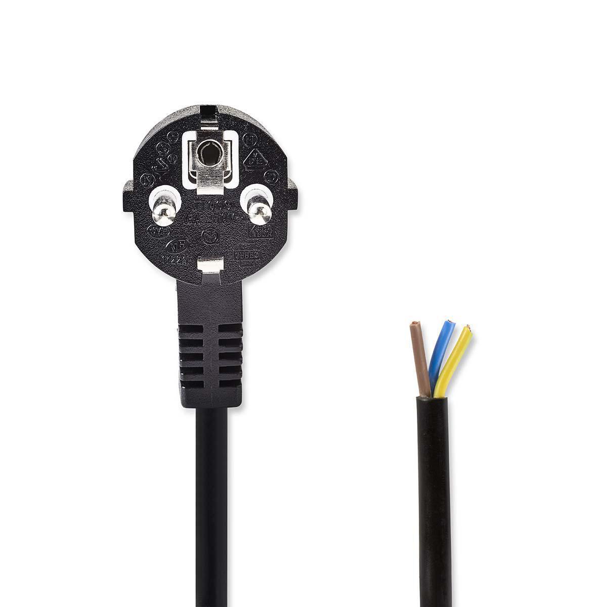 Zwarte voedingskabel - stroomkabel - 3 meter - schuko - stekker - zwart - 3x 1.5mm