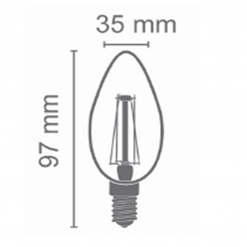Filament kaarslamp 1,6Watt 2100K kleine E14 fitting