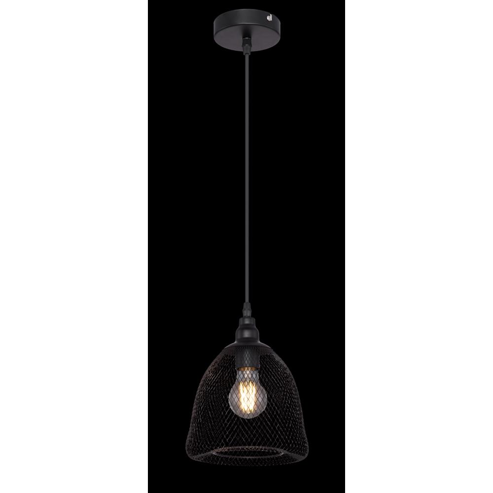 LED moderne hanglamp metaal mesh - zwart - open kap - donkere achtergrond