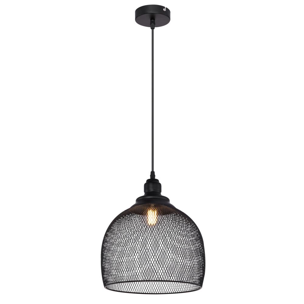 Hanglamp LED modern mesh metaal zwart E27 fitting - vooraanzicht lamp aan