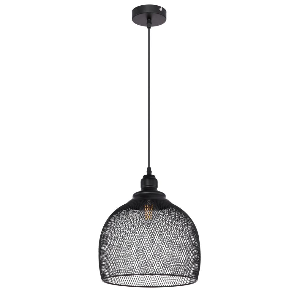 Hanglamp LED modern mesh metaal zwart E27 fitting - vooraanzicht lamp uit