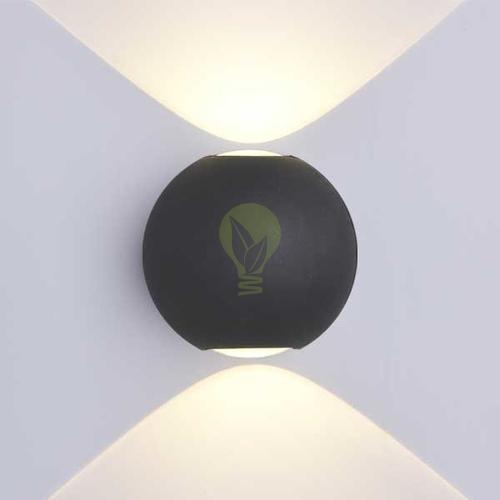 LED Wandlamp 6W rond 3000K up & down IP65 zwart globe - sfeerfoto