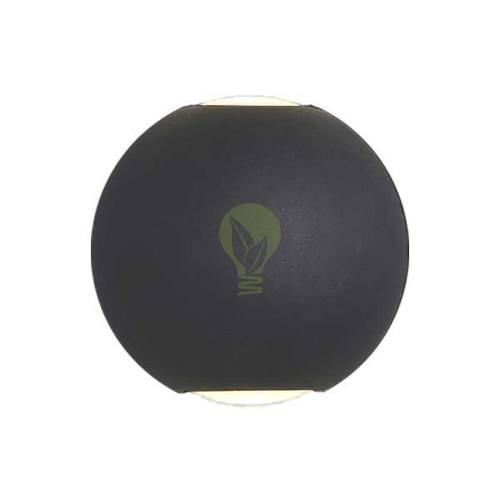 LED Wandlamp 6W rond 3000K up & down IP65 zwart globe