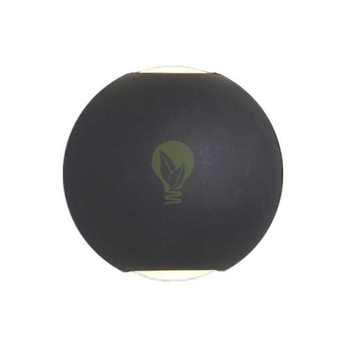 LED Wandlamp 6W rond 3000K up & down IP65 zwart globe