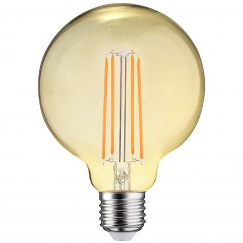 LED dimbare filament globe lamp amber glas 125mm 6,5 Watt grote fitting E27 2700K warm wit