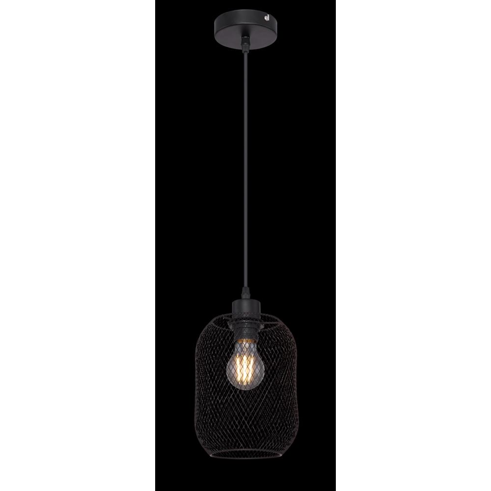 LED moderne hanglamp zwart mesh E27 fitting - donkere achtergrond
