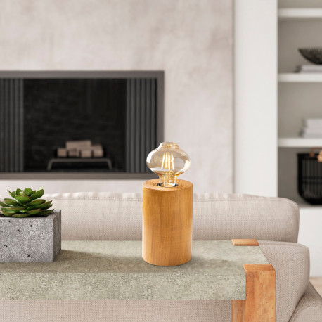 Tafellamp hout E27 fitting - sfeerfoto