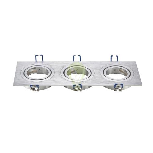 driedubbele inbouw spot vierkant aluminium