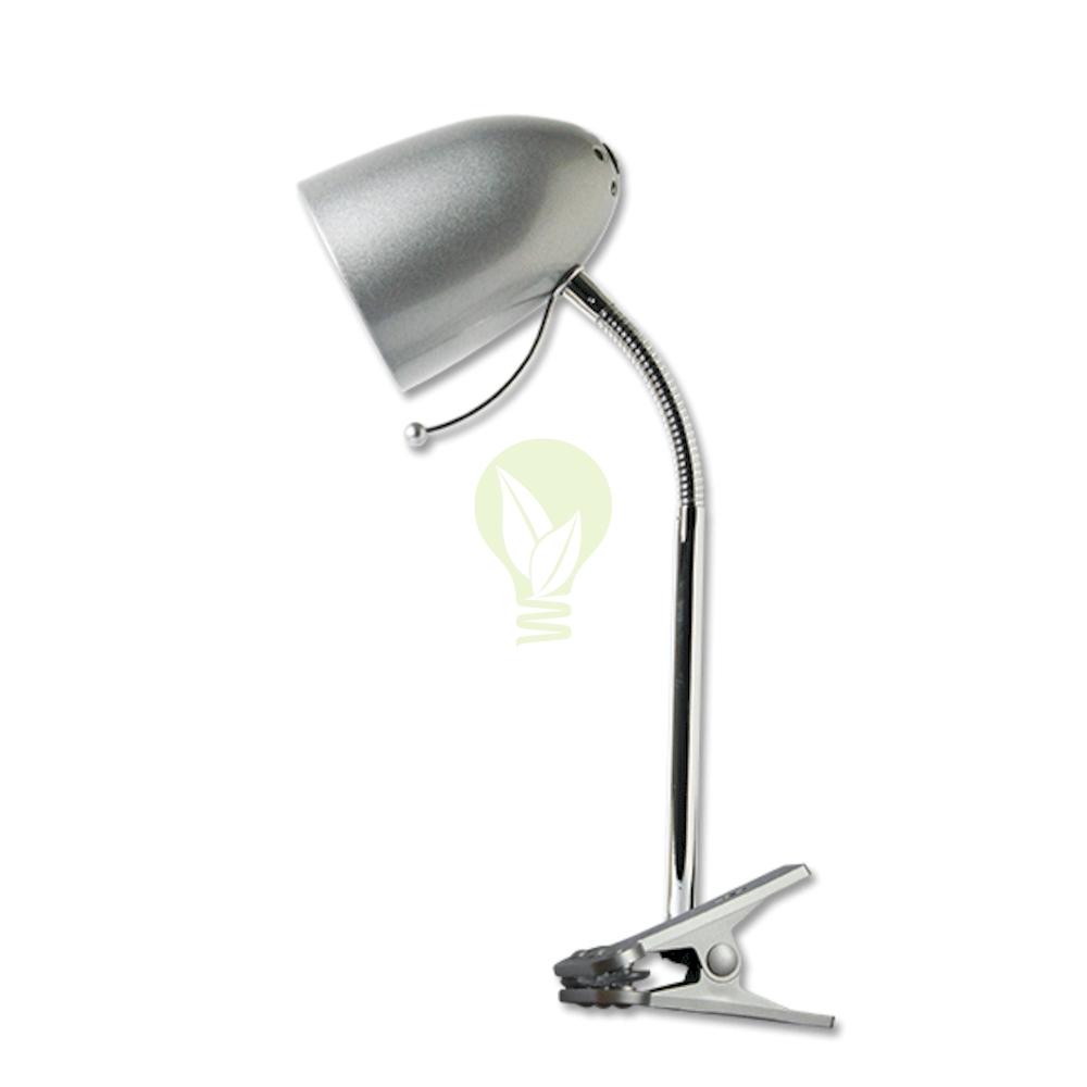 Bureaulamp met E27 fitting met klem - Zilver