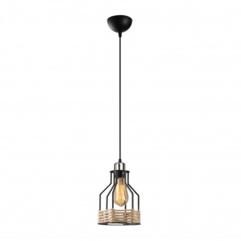 landelijk hanglamp metaal en touw - enkel