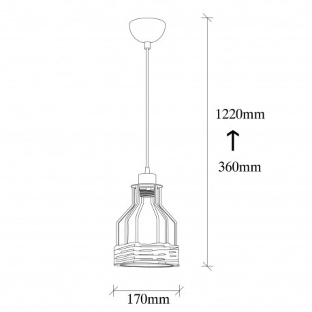 landelijk hanglamp metaal en touw - afmetingen