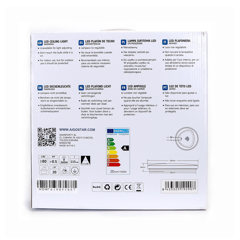 LED Plafondlamp rond wit - Flatline - 20W - verpakking / doos