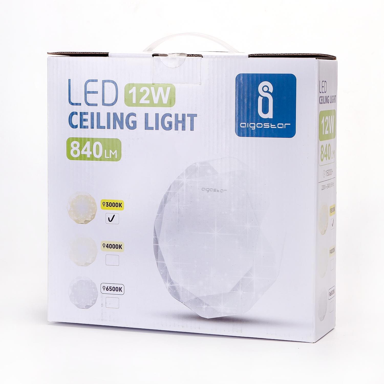 LED Plafondlamp rond diamond - 12 watt verpakking - 3000K Warm wit