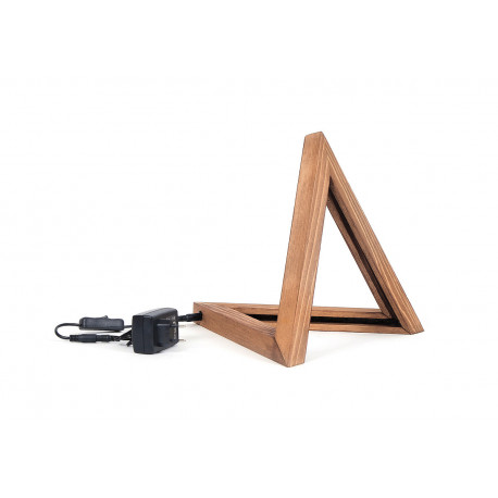 houten LED tafellamp driehoek
