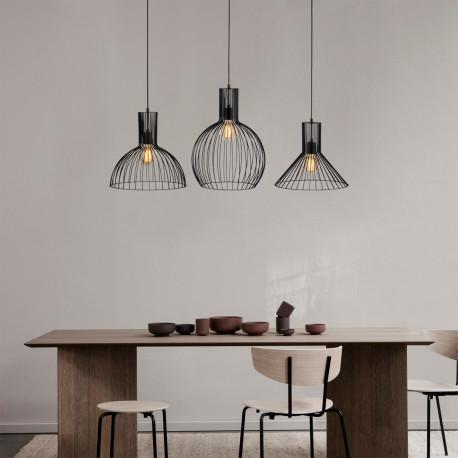 3 Dubbele hanglamp met verschillende lampenkappen zwart - sfeerfoto