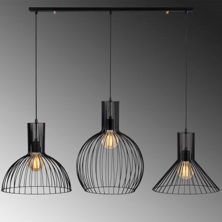 3 Dubbele hanglamp met verschillende lampenkappen zwart