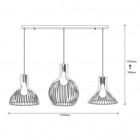 3 Dubbele hanglamp met verschillende lampenkappen zwart - afmetingen