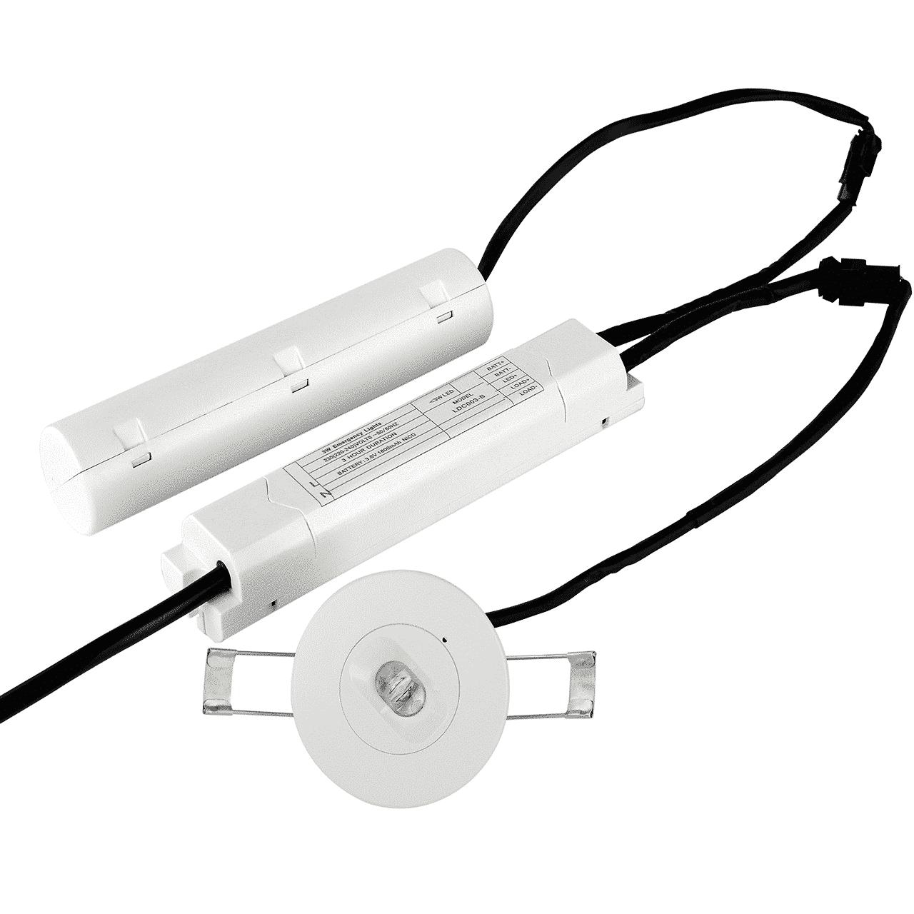 noodverlichting spot - 3 watt- inbouw - brede lens - 6000K- voorkant