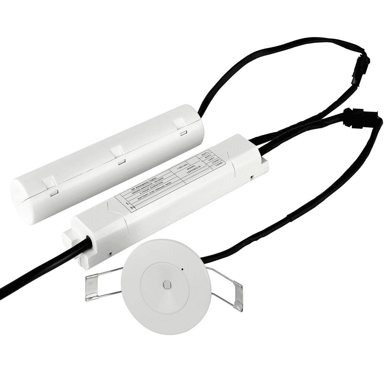 noodverlichting spot- 3 watt- inbouw - open lens - 6000k- voorkant