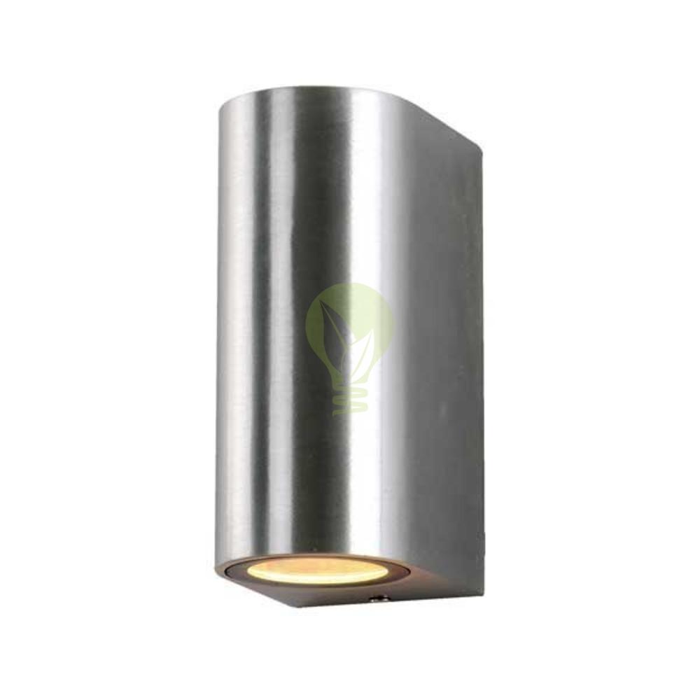 LED Wand spot buiten rond met 2x GU10 fitting - IP44 - aluminium