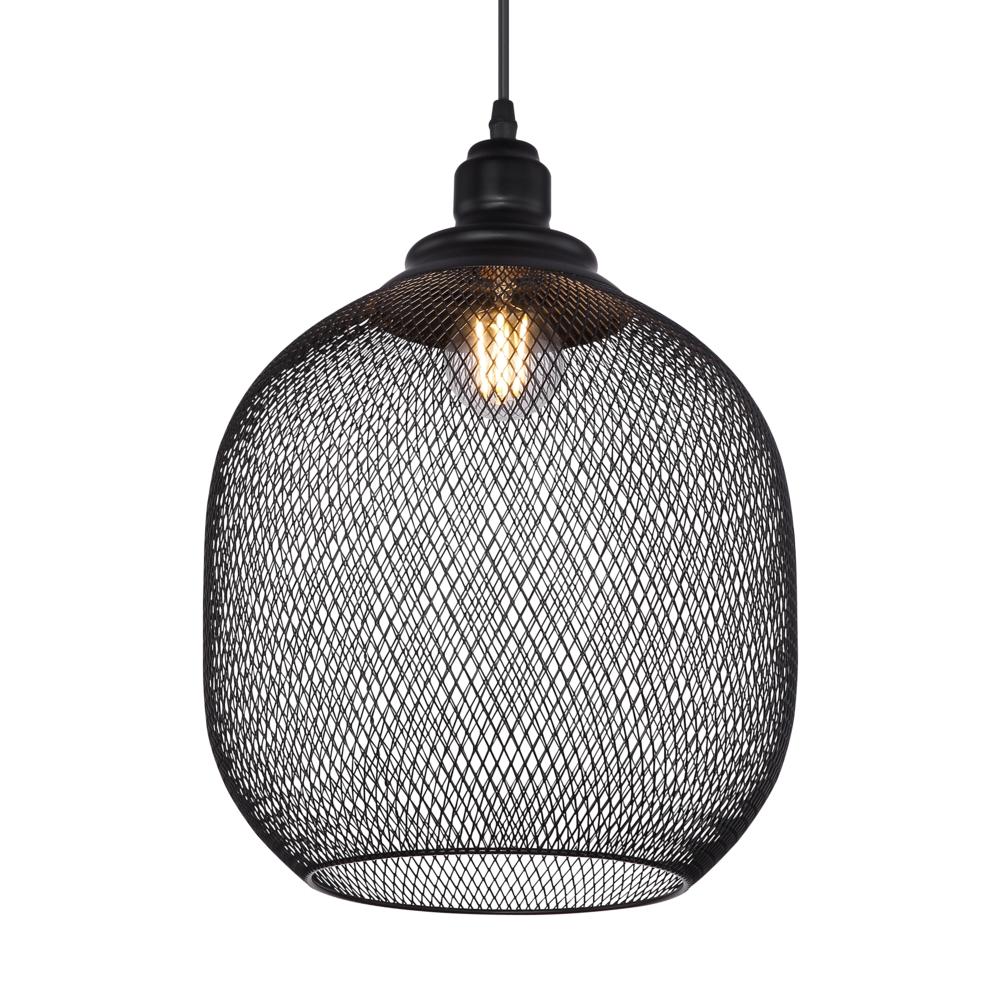 LED metalen hanglamp zwart mesh metaal E27 fitting - lampenkap