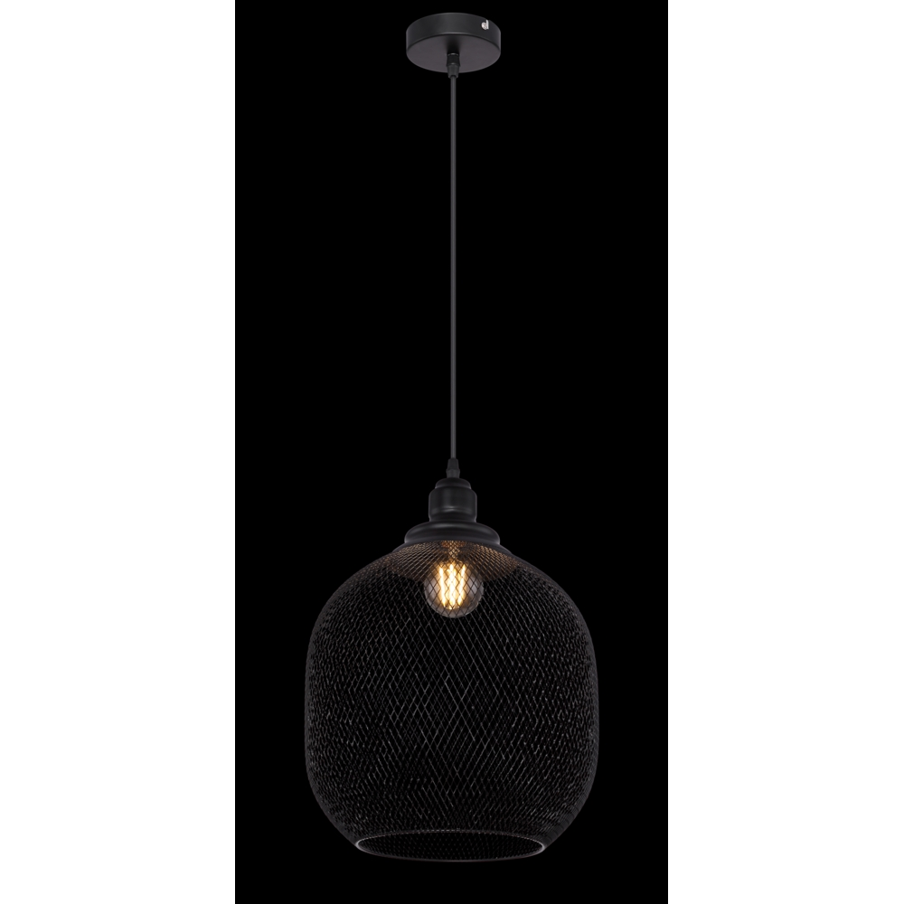 LED metalen hanglamp zwart mesh metaal E27 fitting - zwarte achtergrond